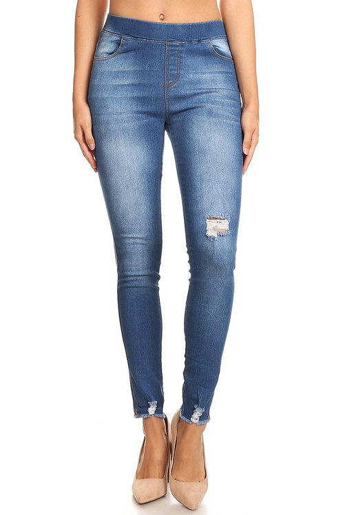 DISTRESSED PULL-ON JEGGING
