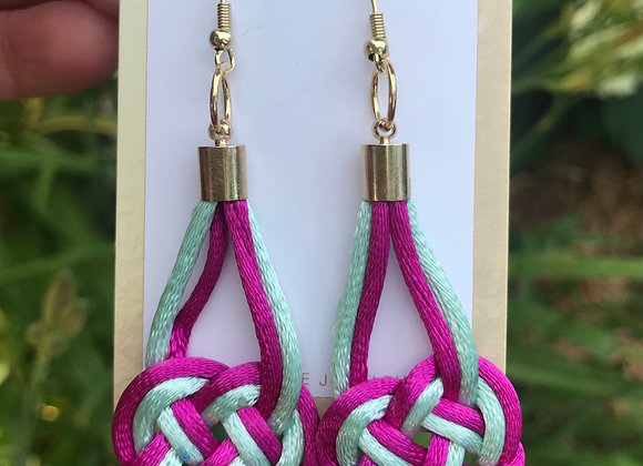Magenta & Light Blue Forget-Me-Knot Earrings