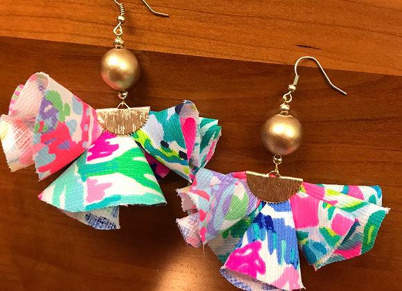 Mixed Lilly Pattern Ruffle Earrings