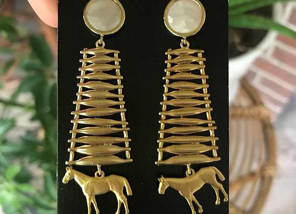 Mother of Pearl Brass Equestrian Earrings