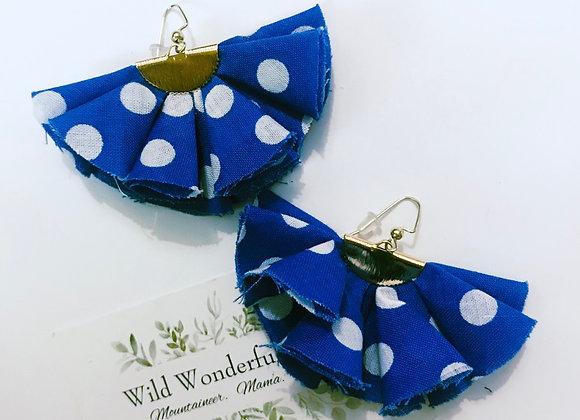 Blue/White Polka Dot Ruffle Earrings