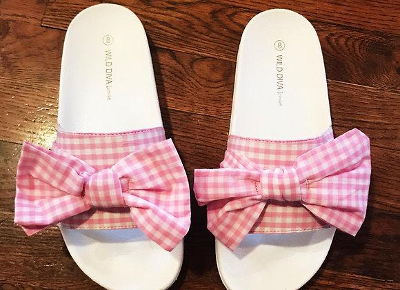 Pink & White Gingham Bow Slides