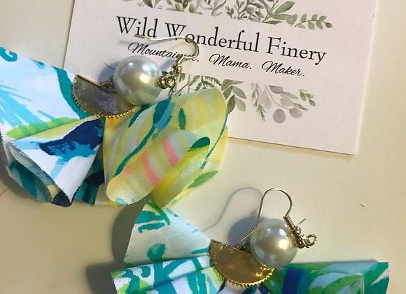 Lilly Mixed Pattern Ruffle Earrings w/ Classic Pearl Bead