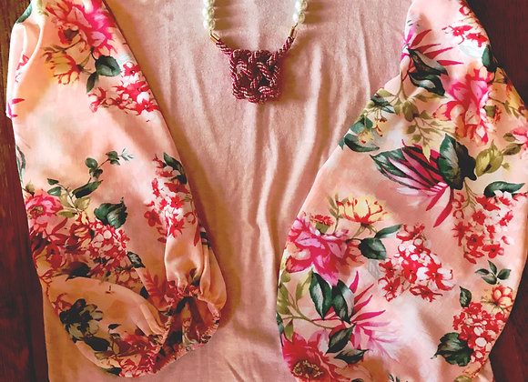 Pink Top with Floral Puff Sleeves