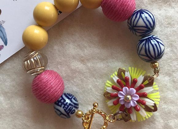 Handmade Mixed Media Vintage Beaded Bracelet