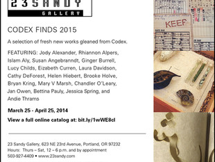 Codex Finds 2015 at 23 Sandy Gallery