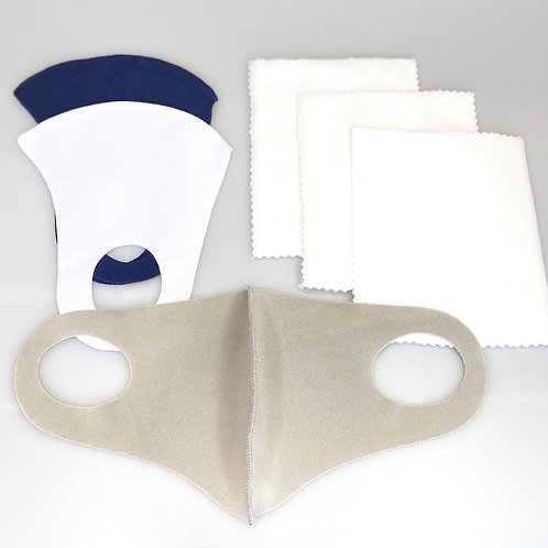3 Washable, Lightweight Face Masks + 36 Filters (Neutral Colors)