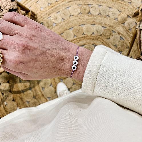 Bracelet 3 coeurs - Noir/Lilas