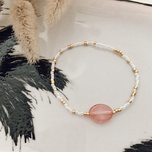 Bracelet Alba - Rose/Blanc Doré