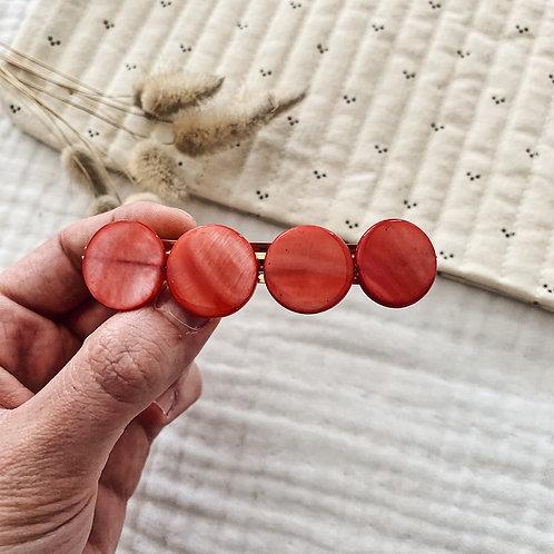 Barrette avec perles en nacre - Corail