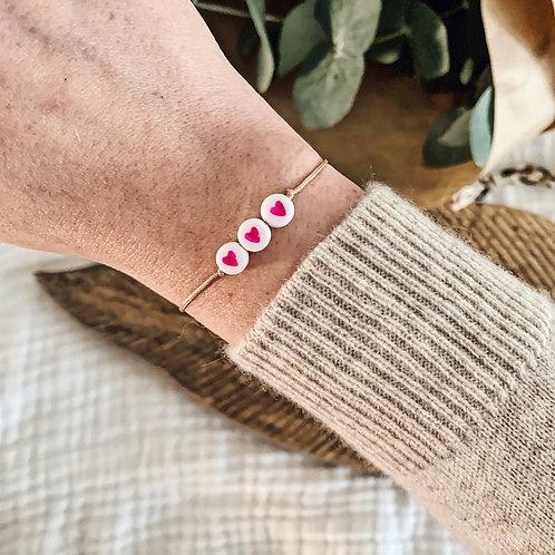 Bracelet 3 coeurs - Rose