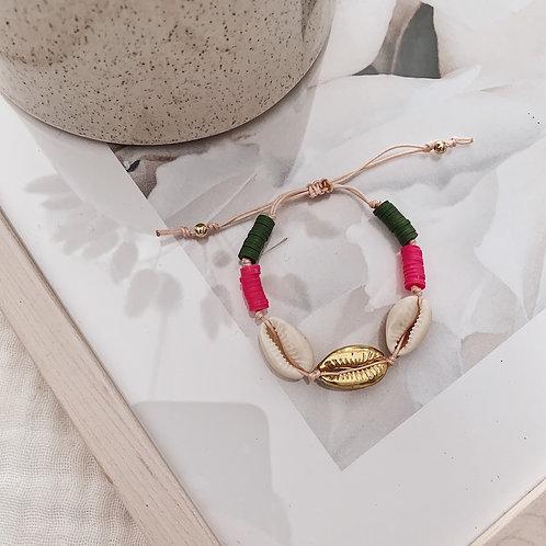 Bracelet Acapulco - Fuchsia/kaki/doré