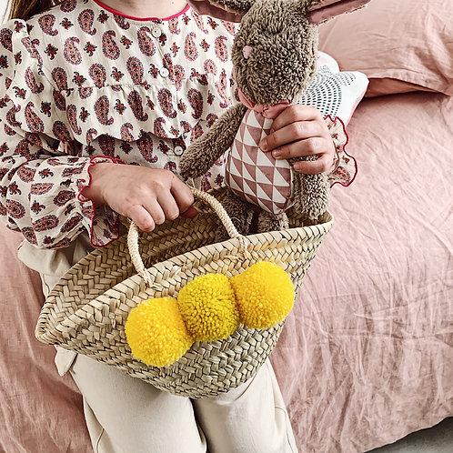Petit panier marocain - Pompons jaunes