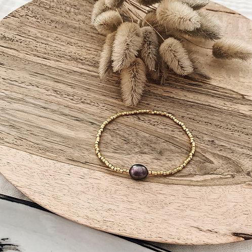 Bracelet Iris perle grise - Doré