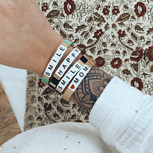 Bracelet WORD - Happy noir/doré