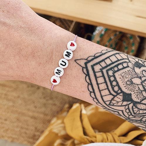 Bracelet Mum - Coeurs rouges