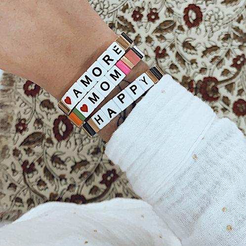 Bracelet WORD - Amore noir/doré
