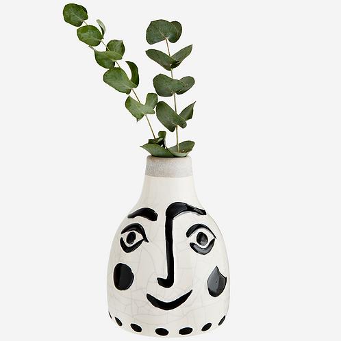 Vase Visage craquelé - Noir et blanc