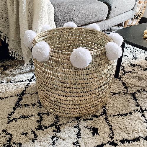 Panier marocain à pompons - Blanc