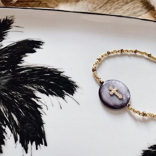 Bracelet Maria - Doré/nacre grise