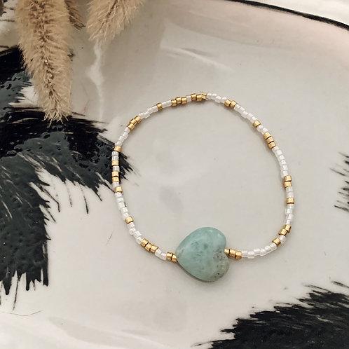 Bracelet Love - Amazonite/Blanc Doré