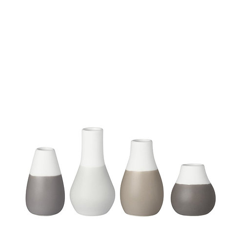 Mini vases blancs et taupes