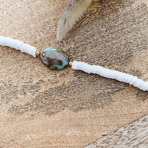 Bracelet Heishi et pierre - Blanc