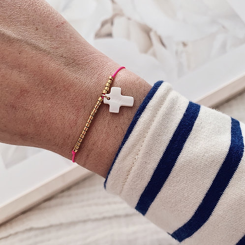 Bracelet Croix - Rose fluo
