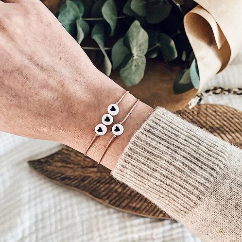 Bracelet 3 coeurs - Noir/Beige