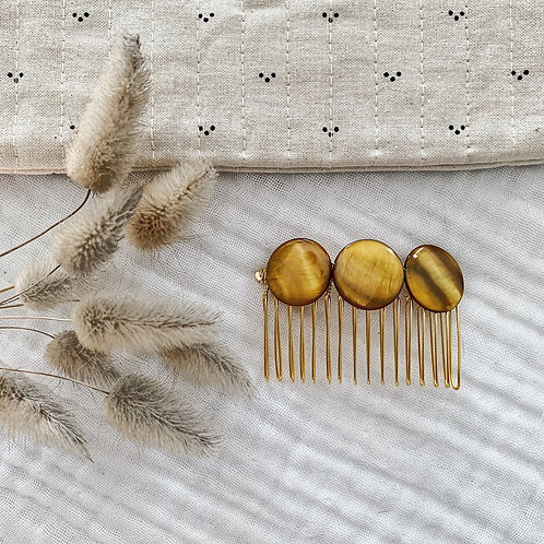 Peigne avec perles rondes - Moutarde