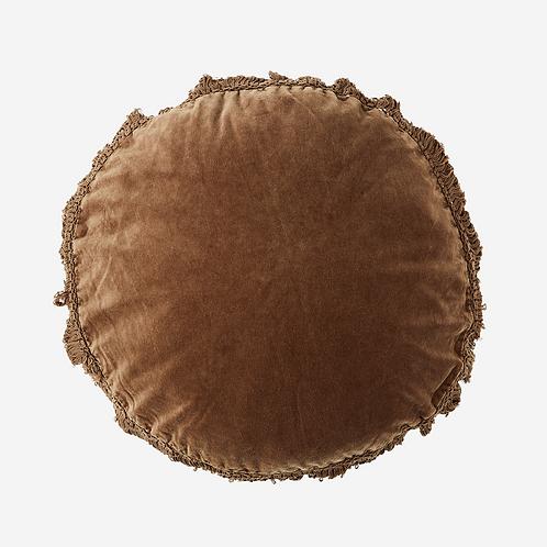 Coussin rond en velours - Caramel