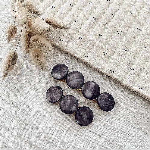 Barrette avec perles en nacre - Grise