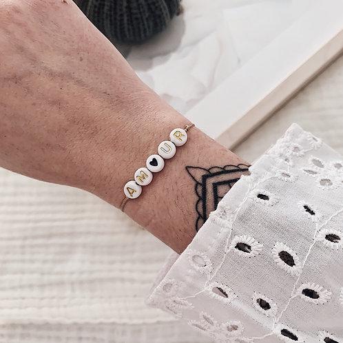 Bracelet Amour/coeur noir - Doré