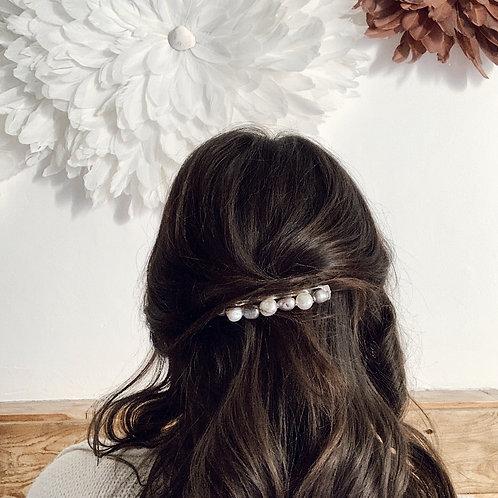 Barrette - Gris clair et blanc