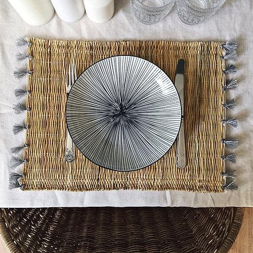 Set de table à pompons - Argenté