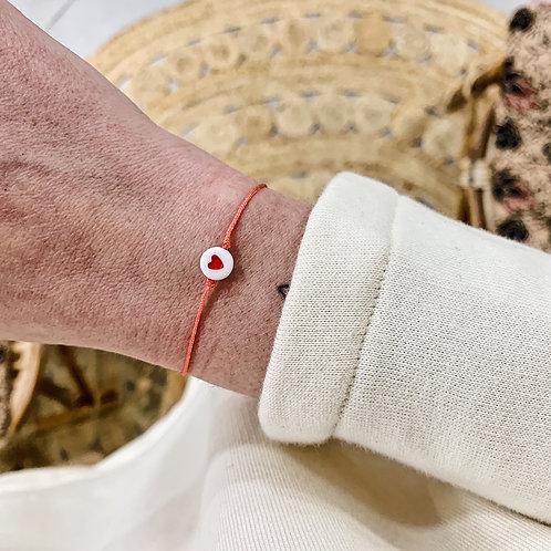 Bracelet Coeur - Rouge/Corail