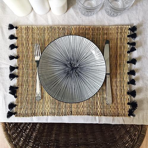Set de table à pompons - Noir