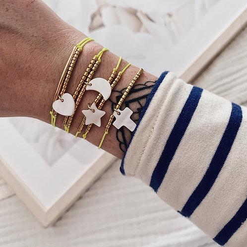 Bracelet Croix - Jaune fluo