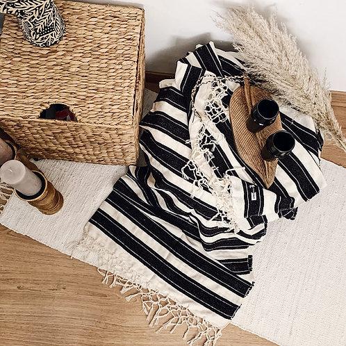 Plaid à rayures - Noir et blanc
