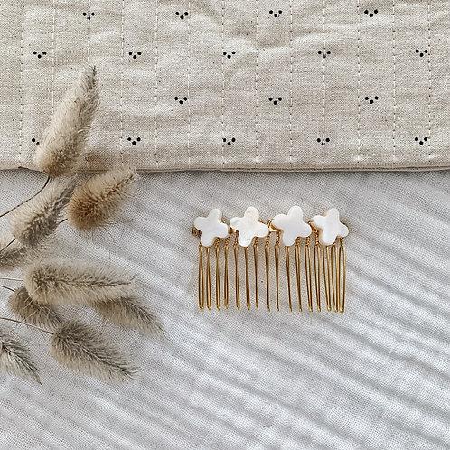 Peigne avec perles trèfle