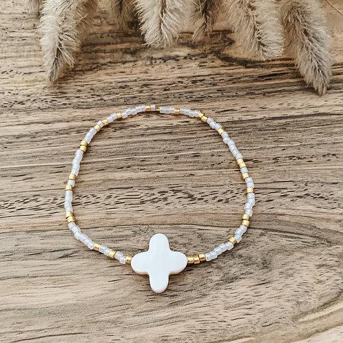 Bracelet Chance - Blanc/ Blanc Doré