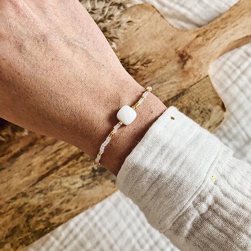 Bracelet Happy - Doré/blanc