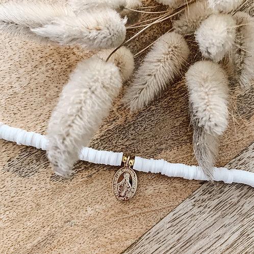 Bracelet Heishi et madone - Blanc