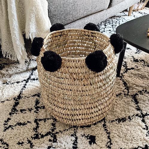Panier marocain à pompons - Noir