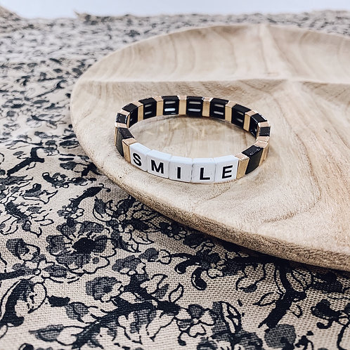 Bracelet WORD - Smile noir/doré