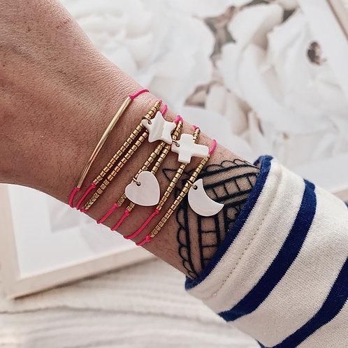 Bracelet Coeur - Rose fluo