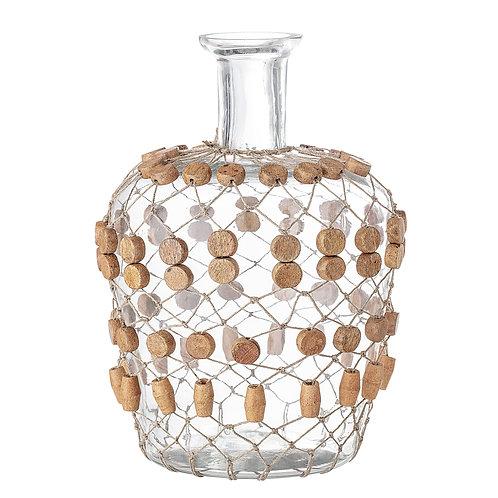 Vase avec perles en bois