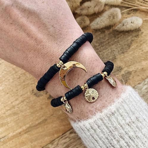 Bracelet Heishi et lune - Noir