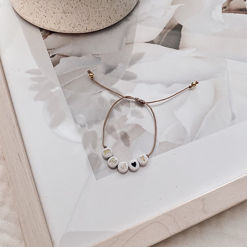 Bracelet Enjoy/coeur noir - Doré