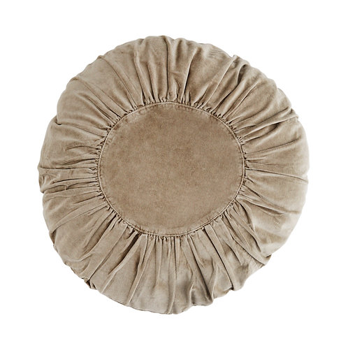 Coussin rond en velours - Taupe